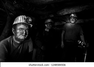 Zonguldak,Turkey- December 20, 2010: Coal mine workers during their shift in a coal mine in Kozlu province in Turkey.They work very difficult and risky conditions.Very high ISO used during all shots.