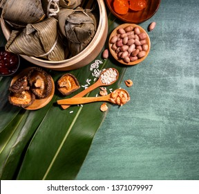 Zongzi - Close up, copy space, top view, flat lay. Famous asian chinese tasty handmade food in duan wu festival, steamed rice dumplings shaped like pyramidal ingredients