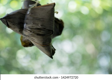Zongzi Hanging. Zongzi is the Famous Traditional Chinese Rice Dumplings for Dragon Boat Festival (Duanwu Festival).