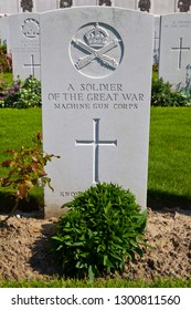 Zonnebeke, Belgium - August 10th 2012: Grave of a Soldier of the Great War in Tyne Cot Cemetery in Belgium. Tyne Cot is a cemetery for Commonwealth soldiers who died in Ypres during the 1st World War.