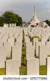 ZONNEBEKE, WEST FLANDERS, BELGIUM - AUGUST 8, 2015: Tyne Cot, resting place of 11,900 servicemen of the British Empire from the First World War, is the largest Commonwealth Cemetery in the world.