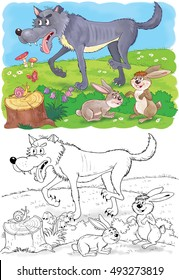 Cute Forest Animals Woodland A Wolf And Hares