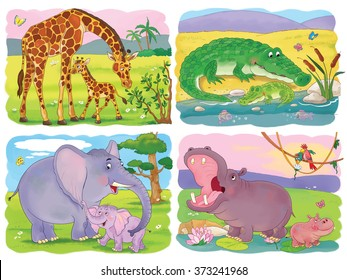 At the zoo. Set of cute African animals. Cute mother giraffe, crocodile, elephant and hippo with their babies. Illustration for children. Coloring book. Coloring page. Cartoon characters.