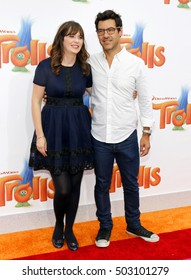 Zooey Deschanel and Jacob Pechenik at the Los Angeles premiere of 'Trolls' held at the Regency Village Theatre in Westwood, USA on October 23, 2016.