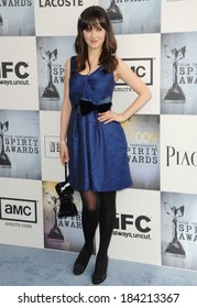 Zooey Deschanel, wearing a Lela Rose dress, at Film Independent's 2009 Spirit Awards, on the beach, Santa Monica, CA 2/21/2009 Photo By Dee Cercone/Everett Collection