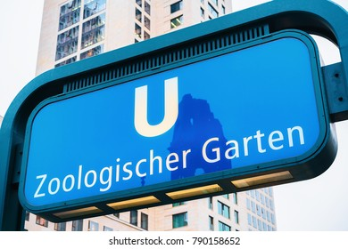 Zoological Garden Station direction plate in Berlin, Germany