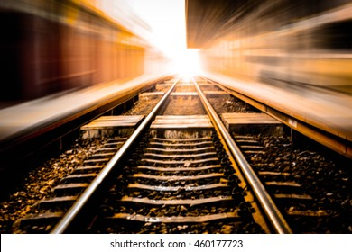 Zoom and Blurred picture of beautiful railroad at sunset