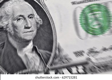 Zoom effect applied to Washington's portrait on US dollar banknote