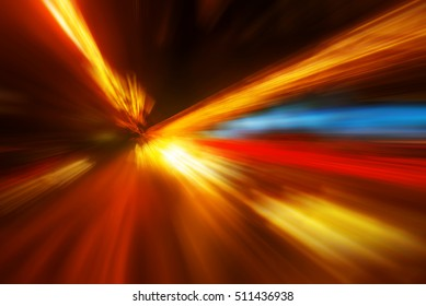 Zoom effect colorful abstract blur background as time travel and speed of light concept.