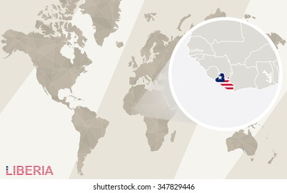 Zoom on Liberia Map and Flag. World Map. Rasterized Copy.