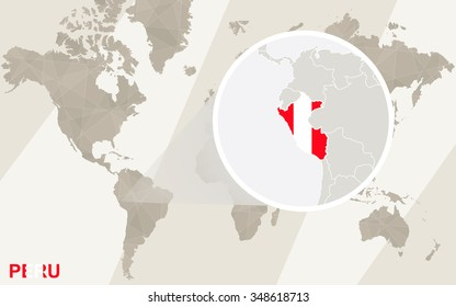 Zoom on Peru Map and Flag. World Map. Rasterized Copy.