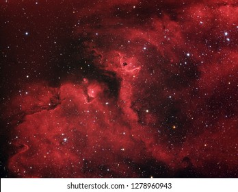 Zoom on star forming region in Soul Nebula (also known as IC 1848) in the constellation Cassiopeia. This hydrogen region is is both emission and reflection nebula and star forming area