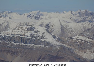 Zoom in photo at the sumit of Mount Temple, view towards Mount Richardson, Banff National Park, Canadian Rockies