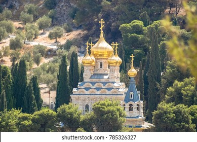 Zoom picture of Church of Mary Magdalene, Russian Orthodox church located on the Mount of Olives in Jerusalem, Israel.
