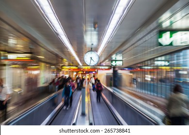 zoom picture of a moving walkway at an airport, zoom effect was made by camera