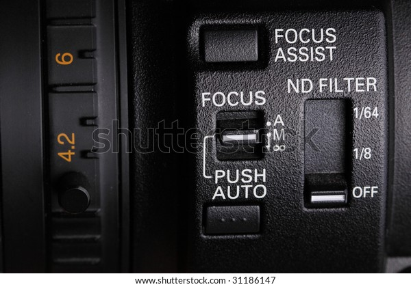 zoom ring and buttons on the professional camcorder