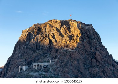 Zoomed castle view of Afyonkarahisar is a historical fortification, which was built around 1350 BC and is located in Afyonkarahisar, Turkey.