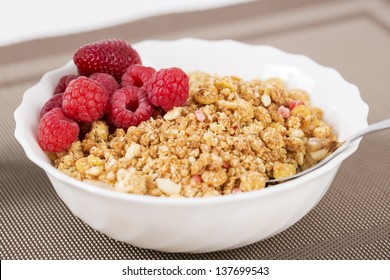 Zoomed golden cereals with berries with chromed spoon