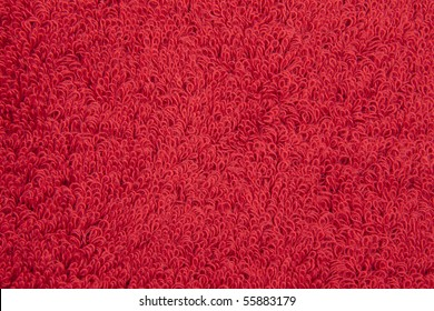 zoomed into a red terry cloth towel