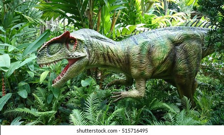 ZOO-RASSIC PARK, SINGAPORE. 15 November 2016. Feature one of the life-size sculpture of prehistoric animals, the Allosaurus dinosaur.