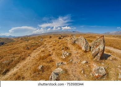 Zorats Karer (Carahunge) - Prehistoric Stone Pyramids site in Armenia, also known as Armenian Stonehendge