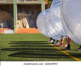 Zorb. outdoor toys, Bubble football, soccer. Sport team, wait for begin