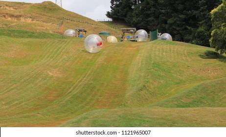 zorbing down the hill first in rotorua