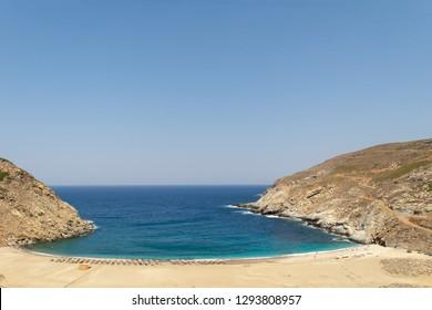 Zorgos beach at Andros island in Greece. A beautiful travel destination.