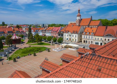 ZORY, POLAND - JUNE 04, 2020: Aerial view of central square in Zory. Upper Silesia. Poland.