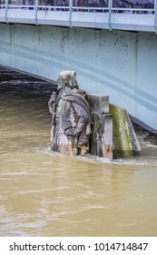 Zouave statue (1850) is most famous feature of Pont de Alma. The Zouave statue has acted as a measuring instrument during the floods. Paris, France. [End of January 2018]