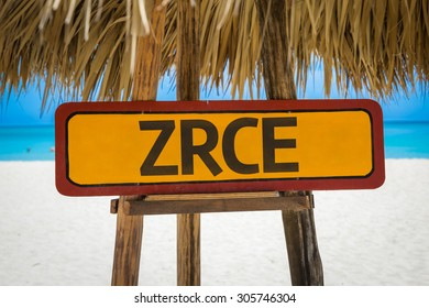 Zrce sign with beach background