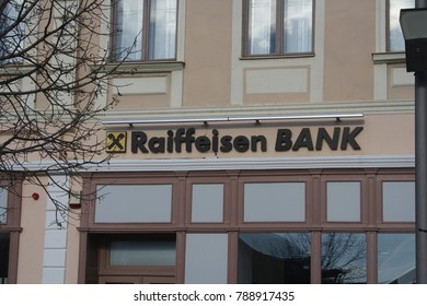 Zrenjanin, Serbia, 01.01.2018 - Central Bank Raiffeisen Bank was founded in 1927 (90 years and 143 days ago) in Austria, and has branches throughout Central and Eastern Europe.