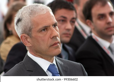 ZRENJANIN, SERBIA - APRIL 3: President of Republic of Serbia, Boris Tadic, attends the grand opening of Mecaplast factory on April 3, 2012 in Zrenjanin, Serbia