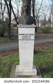 Zrenjanin, Serbia - January 23rd, 2018: The statue of Dr. Kemeny Ferenc. He was a Hungarian educator and humanist, and a founding member of the International Olympic Committee