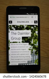 Zrenjanin, Serbia - June 13th, 2019: Official website of Daimler AG displayed on a smartphone. This is a German multinational automotive corporation, headquartered in Stuttgart, Baden-Wurttemberg