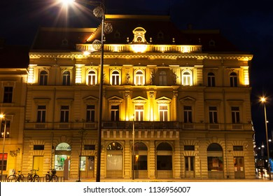ZRENJANIN, SERBIA - JUNE 3, 2018: Town square at night. Museum building of Zrenjanin