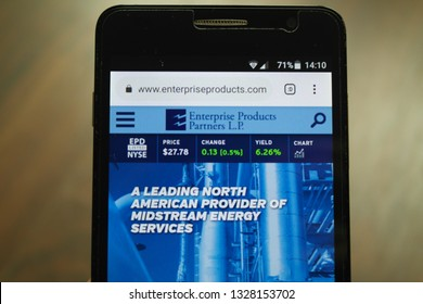 Zrenjanin, Serbia - March 3rd, 2019: Website of Enterprise Products Partners displayed on a smartphone. This is an American midstream natural gas and crude oil pipeline company in Houston, Texas.