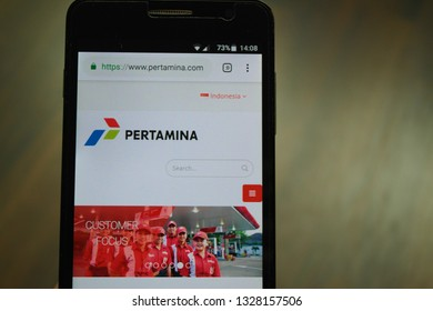 Zrenjanin, Serbia - March 3rd, 2019: Official website of Pertamina displayed on a smartphone. This is an Indonesian state-owned oil and natural gas corporation based in Jakarta.