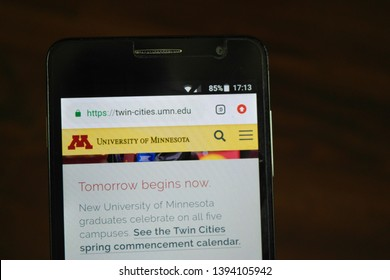 Zrenjanin, Serbia - May 10th, 2019: Website of the University of Minnesota, Twin Cities displayed on a smartphone. This is a public research university in Minneapolis and Saint Paul, Minnesota.