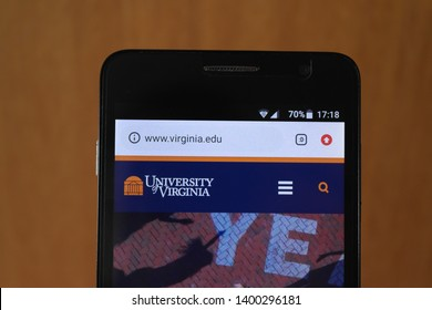 Zrenjanin, Serbia - May 15th, 2019: Official website of the University of Virginia displayed on a smartphone. This is a public research university in Charlottesville, Virginia, United States