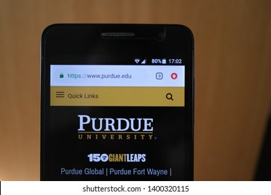 Zrenjanin, Serbia - May 15th, 2019: Official website of Purdue University displayed on a smartphone, in soft focus. This is a public research university in West Lafayette, Indiana, United States
