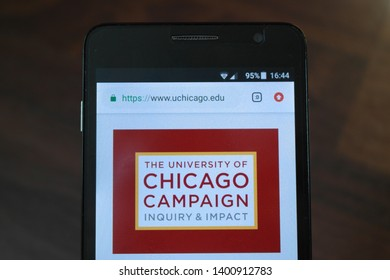 Zrenjanin, Serbia - May 15th, 2019: Official website of the University of Chicago displayed on a smartphone. This is a private research university in Chicago, Illinois, United States