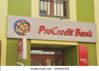 Zrenjanin, Serbia - May 20th, 2018: Branch of ProCredit Bank -  operates within the ProCredit Group. Its parent company is ProCredit Holding AG & Co. KGaA, based in Frankfurt am Main, Germany