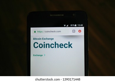 Zrenjanin, Serbia - May 4th, 2019: Official Website of Coincheck displayed on a smartphone. This is a bitcoin wallet and exchange service headquartered in Tokyo, Japan.