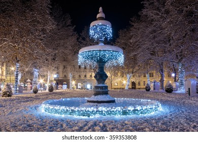 Zrinjevac park Fountain decorated by Christmas lights as part of Advent in Zagreb. Fountain is  known as The Mushroom.