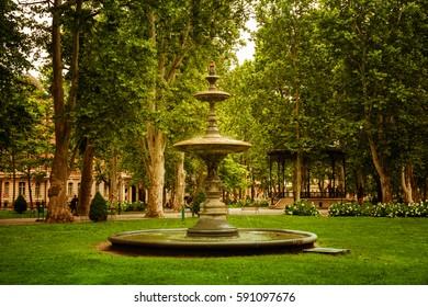 Zrinjevac park in Zagreb, Croatia.