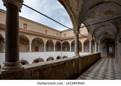 'Zrinski-Frankopan's castle in Croatia.  Ruin of the inner courtyard of the medieval castle.