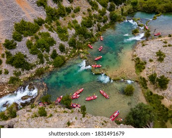 Zrmanja and Krupa River in northern Dalmatia, Croatia is famous for its crystal clear waters and countless waterfalls surrounded by a deep canyon.