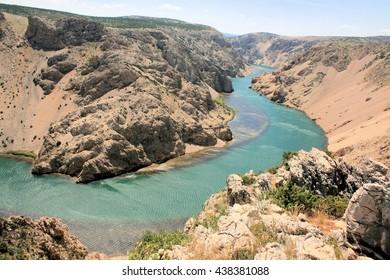 Zrmanja river between Obrovac and Novigrad sea, croatia