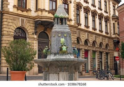 Zsolnay fountain Pecs landmark Hungary